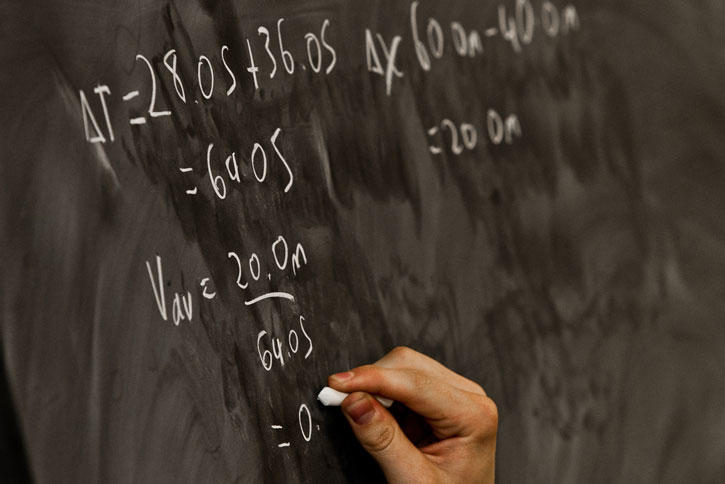hand doing math equations on chalk board