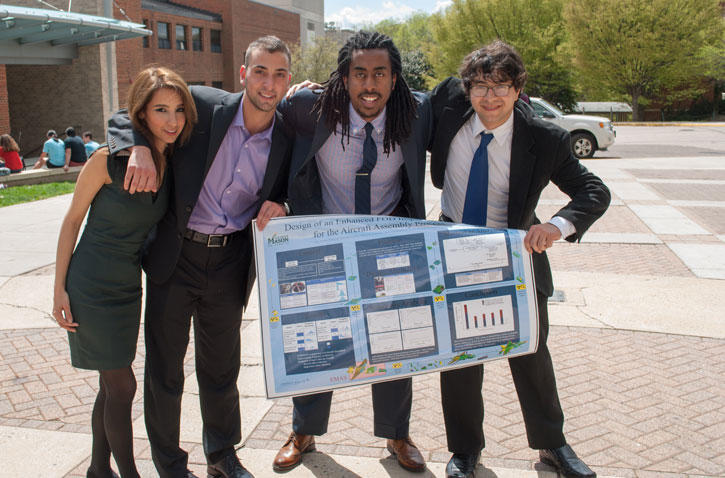 Students celebrate their presentation at West Point